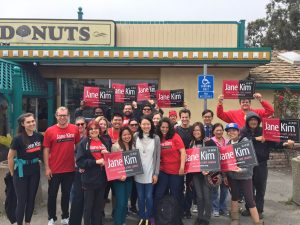Jane Kim's team at Royal Donuts in Daly City, 7/30/16 http://janekim.org